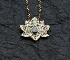 Lotus Pendant - Water Lily Necklace - Brass Flower Necklace - Moonstone Necklace - Heart Chakra Necklace - $42 - Etsy