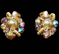0c1aa07bb Vintage Alice Caviness Art Glass Rivoli Rhinestone Crystal and Pearl  Earrings Gold Tone Signed Presented by