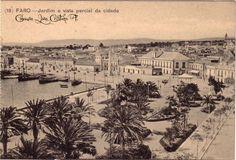 Faro : Jardim e vista parcial da cidade Algarve, Portugal, Nostalgia, Portuguese, Old Photos, Vintage World Maps, Poster, History, Street