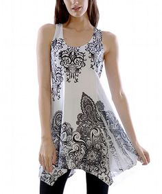 Another great find on #zulily! Black & White Damask Racerback Tunic by Simply Couture #zulilyfinds