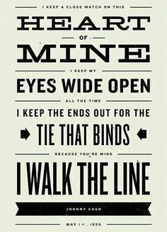 JOHNNY CASH Inspired, Walk The Line Lyric Poster - 11 x17 Typography Art Print…