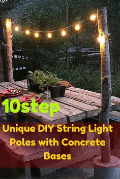 "10 step Unique DIY String Light Poles with Concrete Bases I love DIY projects, but I have never worked with cement before this Home Depot Cement DIY Challenge. As is the case prior to any challenge, I was slightly intimidated, yet eagerly said, ""Bring it on!"" Having had no experience with concrete, I finished this project having learned five things.  Materials Needed  5o lb. Quikrete Fast-Setting Cement Herbs and vegetable plants Wood planter Outdoor Clear Hanging Garden String Lights 2 —…"