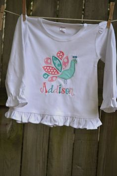 Ruffled Peacock Appliqued Shirt by adeichhorn on Etsy, $27.00