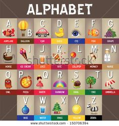 Back to school  Vector  Alphabet A to Z - Colorful Picture Dictionary for Kids