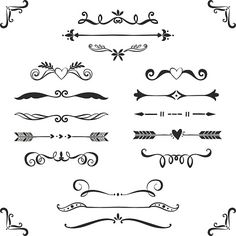 Vintage decorative text dividers collection. vector art illustration