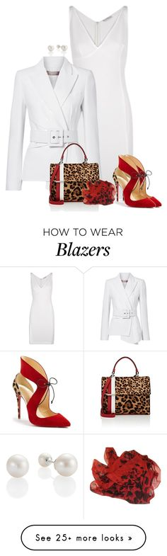 """Leopard #3"" by kimzarad1 on Polyvore featuring Versace, Michael Kors, Tomasini, Christian Louboutin and Burberry"