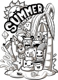 Set of cute doodle monsters with summer elements. - Set of cute doodle monsters with summer elements. Cute Doodle Art, Doodle Art Designs, Doodle Art Drawing, Art Drawings Sketches, Easy Drawings, Doodling Art, Kawaii Doodles, Cute Doodles, Griffonnages Kawaii