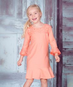 Look at this #zulilyfind! Papaya Lace Three-Quarter Sleeve Dress - Infant, Toddler & Girls by Jelly the Pug #zulilyfinds
