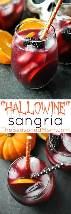 "Sangria ""Hallowine"" Sangria is a festive and easy cocktail to serve at your adult Halloween party this year!""Hallowine"" Sangria is a festive and easy cocktail to serve at your adult Halloween party this year! Cocktails Halloween, Diy Halloween Party, Easy Cocktails, Halloween Festival, Holiday Drinks, Halloween Birthday, Holiday Treats, Halloween Treats, Fun Drinks"