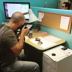 Amanda is taking pics of Corey taking pics of a recent project. More to come! #photoofaphoto #packagingdesign