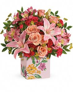 bcff31322434 Teleflora s Brushed With Blossoms Bouquet Bouquet Peach Flowers