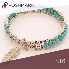 Tibetan Silver Bangle Bracelet, Turquoise Beads Tibetan Silver Bangle Bracelet, Turquoise Beads. Opens with Chain luck Jewelry Bracelets