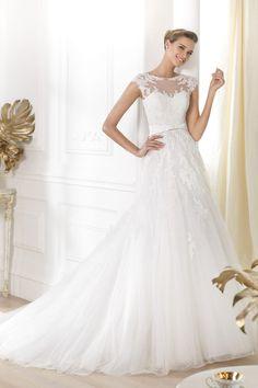2014 Modern Wedding Dresses Scoop Cap Sleeve A Line USD 269.99 EPPCE6LHZS - ElleProm.com