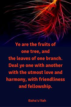Ye are the fruits of one tree, and the leaves of one branch. Quotes To Live By, Life Quotes, Qoutes, Baha I Faith, Welcome Quotes, Unity In Diversity, We Are All Connected, Uplifting Words, Positive Outlook