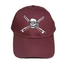Youth Fishing Hats with Reel Fishy Pirate Skull & Rods Logo