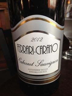 2012 Ferrari-Carano Cabernet Sauvignon - Alexander Valley - Intense ruby red with purple reflections. Pepper and dark fruits bounce out of the glass with a dry, med+ body, creamy mouthfeel and lovely fruit on the palate. 98% Cab Sauv, 2% Petite Syrah. Very good.
