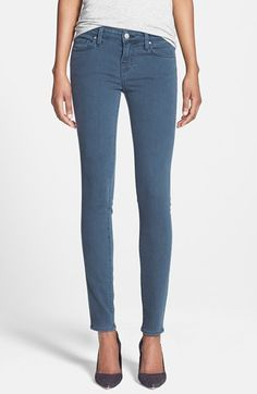 Velvet by Graham & Spencer Low Rise Skinny Jeans (Petrol) | Nordstrom