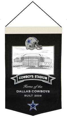 Check out this AWESOME Dallas Cowboys wool Stadium banner. It features embroidery and appliqued graphics in official team colors. It's perfect for your Dallas Cowboys Man Cave, Game Room, Office or anywhere else you want to show love for your team.