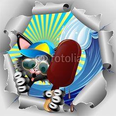 NEW!  #Funny #Cat #Cartoon on #Summer #Holidays, with big #Chocolate #Ice_cream - #illustration by #BluedarkArt on #Fotolia