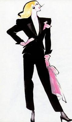 """Fashion illustration by René Gruau, 1986,  """"Le Faste de l'Allure Noir""""."""