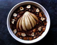 Chocolate, pear, and hazelnut baked oatmeal