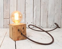 Block lamp from East London Furniture. All their wood is truly recycled.