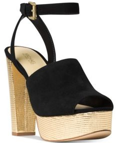 MICHAEL Michael Kors Trina Platform Dress Sandals $160.00 Retro style takes glam sky-high in the luxe gold-tone platform heel and vintage-inspired design of MICHAEL Michael Kors' Trina dress sandals.