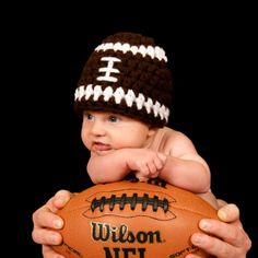 Crochet Football Beanie...wish I had pics of my boys like this when they were babes!