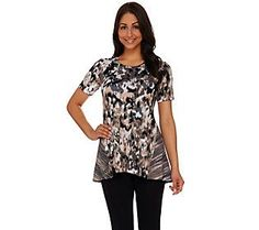 LOGO Lounge by Lori Goldstein French Terry Multi-Color Printed Top