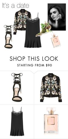 #date by slounis on Polyvore featuring moda, Carven, Needle & Thread, ALDO, Chanel, women's clothing, women's fashion, women, female and woman