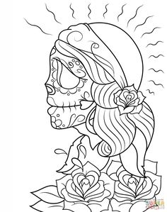 Day of the Dead Girl Skull coloring page Free Printable Coloring Skull Coloring Pages, Abstract Coloring Pages, Spring Coloring Pages, Coloring Pages For Girls, Adult Coloring, Coloring Books, Coloring Sheets, Girl Skull, Sugar Skull Girl