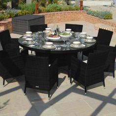 Maze Rattan - Baby LA 8 Seat Rattan Dining Set - 1.6m Round Table - Black