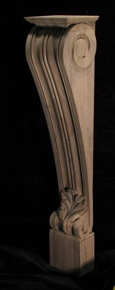 Carved acanthus leaf fireplace post