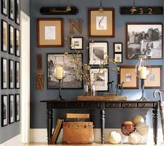 Love this gallery wall and the gray-blue