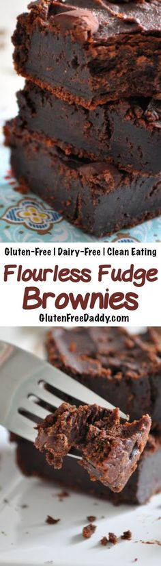 DESCRIPTION   These gluten-free flourless brownies are a rich, dense, and decadent chocolate treat. But I love that they are made f...
