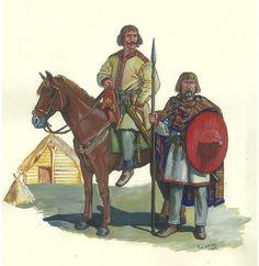 Slavic noblecavalryman and infantryman, reconstructed by Martynivka Treasure.