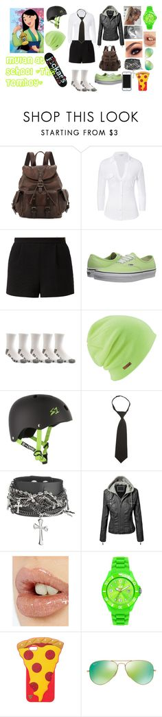 """Mulan at High School"" by blackest-raven ❤ liked on Polyvore featuring Frye, James Perse, Lost Society, Vans, Globe, Coal, French Toast, Kate Spade Saturday, Charlotte Tilbury and Ice-Watch"