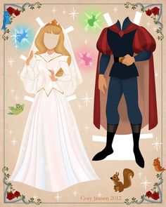 aurora and prince phillip paper doll | paper dolls by cory