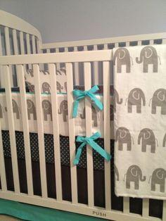 I'm kind of digging blue and gray, especially for a little boy.    Custom Crib Bedding   Baby Boy by DandelionBabyblanket on Etsy