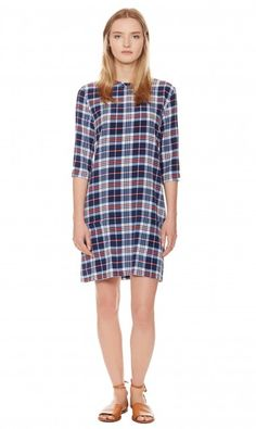 AUBREY DRESS - PEACOAT MULTI SUPREME PLAID PRINTED