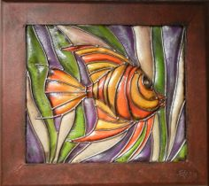 """Angel Fish """"Fitral"""" Metal Wall Art Frame by iUniqueArt. $395.00. Hand-Cut with Plasma Torch. Hand-Crafted in Guadalajara, Mexico. Strong 22-Gauge Sheet Metal Construction. Hand-Painted and Finished with Outdoor Quality Paints. Transluscent Resin Fiber Glass. This frame features our new fiberglass blend that provides a stained glass look while providing added durabilty and workability.  Our proprietary fiberglass blend provides the look of stained glass while providing added d... Sheet Metal Art, Metal Wall Art, Framed Wall Art, Plasma Torch, Angel Fish, Wall Sculptures, Accent Decor, Stained Glass, Wall Decor"""