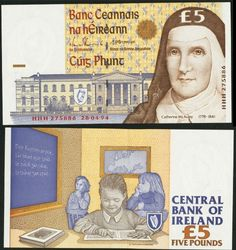 Ireland Central Bank of Ireland £5 28.4.1994 Pick 75a* Replacement A well-margined and boldly embossed example of this modern Irish note with an HHH serial number prefix, indicating that it is a replacement note.