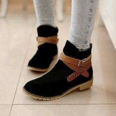 Vintage Round Toe Crossover Buckle Strap Flat Heel Ankle Boots Booties [grxjy5190702] on Luulla