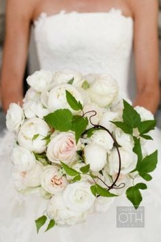 White Peonies Bouquet-LOVE the greens with it