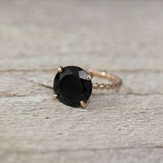 (37) Fancy - Black Spinel & Rose Gold Cocktail Ring