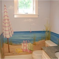 this painted beach theme is awesome would love to find a painter to do this beach themed rooms interesting home office