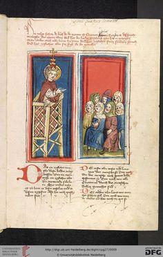 """Cod. Pal. germ. 27: Otto von Passau: Die 24 Alten (Straßburg - """"Werkstatt von 1418"""", 1418), 2r Predigender Papst"""