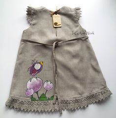 Girls gray linen dress lace painted dress Hand by InGAartWork