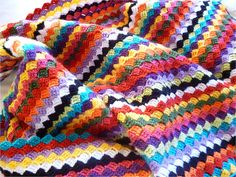 """Diagonals scarf or blanket pattern by Mam'zelle Flo. free pattern from a """"very vintage book"""""""