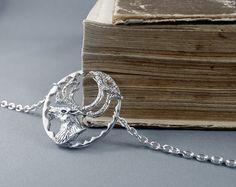 Silver deer necklace. Deer pendant.Wildlife by nataliasjewellery